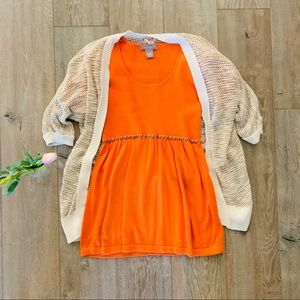 Kenar Orange Studded Blouse Small